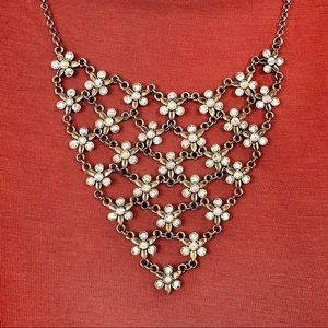 Iridescent Rhinestone Bib Necklace